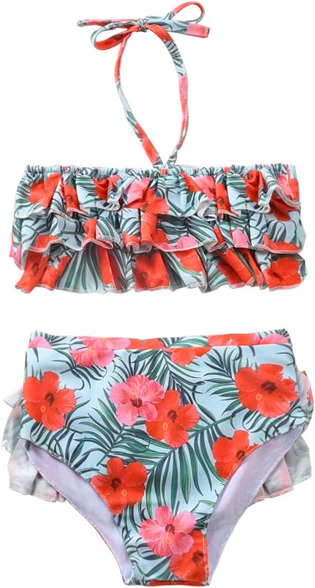 مايوه Unutiylo للأطفال الرضع والفتيات من قطعتين ملابس سباحة للأطفال للشاطئ والاستحمام مع عصابة رأس