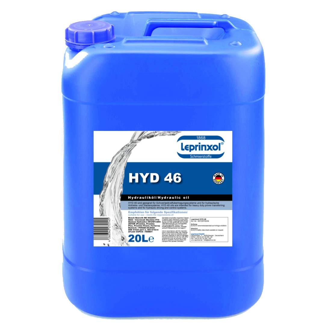 20L HYD 46 lepri nxol hidrá ulico lí quido. El en 20 litros abgefü llte 6012-X1 HLP 46 es un aceite mineral, el como impresió n lí quido, hidrá ulico aceite, la DIN 51524 notebook de 2&n