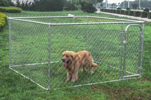 ALEKO Dog Kennel 7.5 x 7.5 x 4 Feet DIY Box Kennel Chain ...