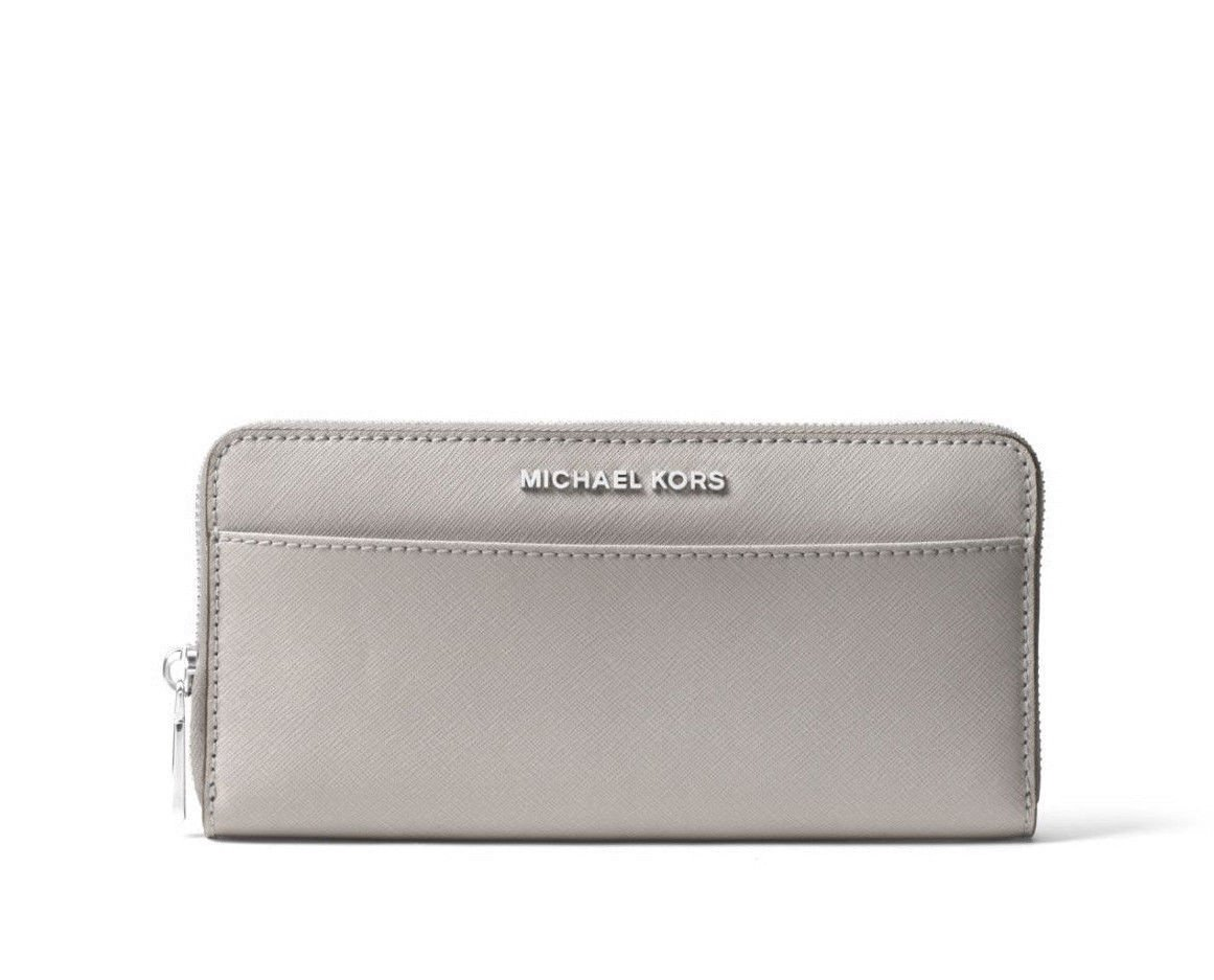 Michael Kors Jet Set Travel Saffiano Leather Pocket Continental Wallet in Pearl Grey (Pearl Grey)