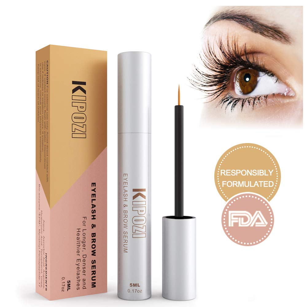 KIPOZI Eyelash Growth Serum Eyelash Enhancer Serum Lash & Brow Booster Serum Achieve Lashes Longer Fuller and Thicker Looking Get Luscious Eyelashes & Eyebrows