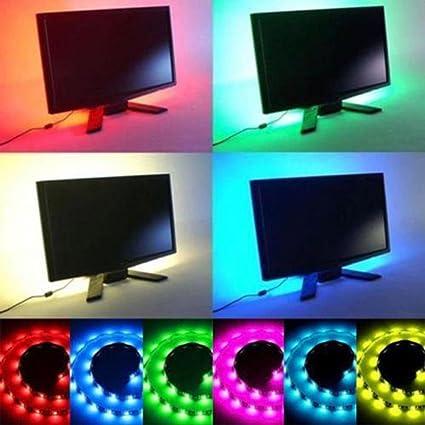5V 5050 60SMD//M RGB LED Strip Light Bar TV Back Lighting Kit+USB Remote Control