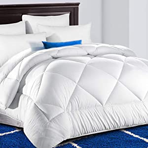 TEKAMON All Season King Comforter Summer Cooling Soft Quilted Down Alternative Duvet Insert with Corner Tabs,Luxury Fluffy Reversible Hotel Collection, Snow White, 90 x 102 inches