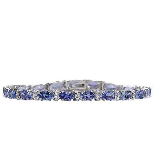 8.74 Carat Natural Tanzanite and Diamond Bracelet In 14K White Gold