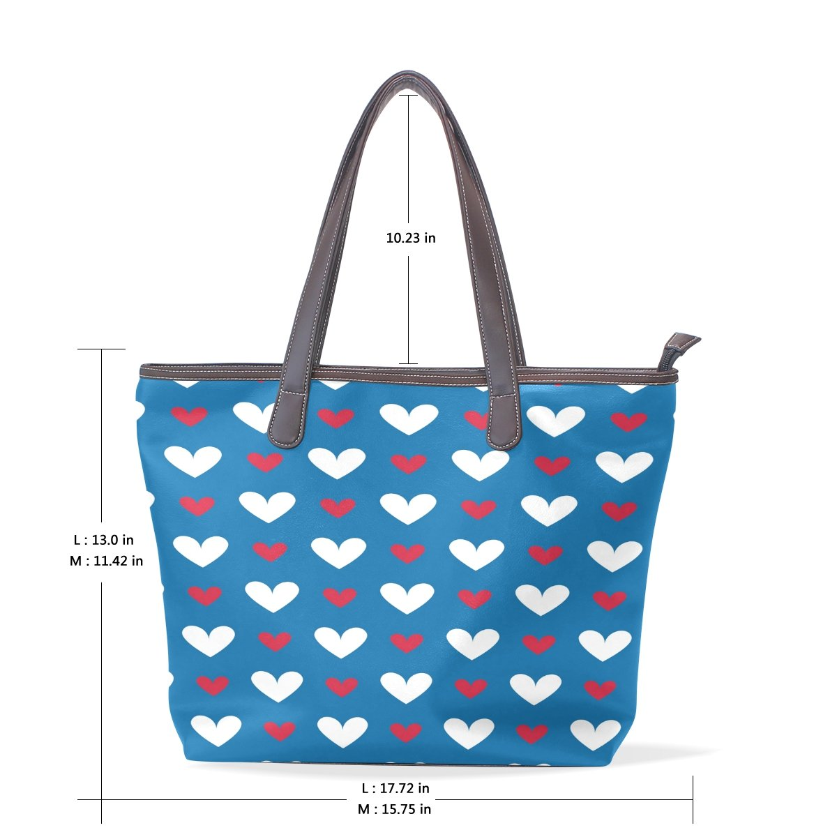 SCDS Red And White Hearts PU Leather Lady Handbag Tote Bag Zipper Shoulder Bag