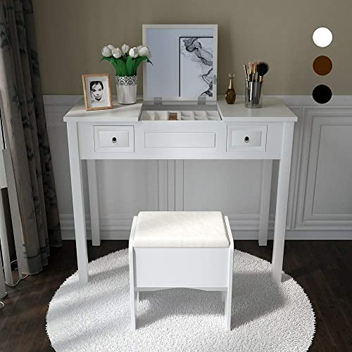 Vanity Set with Flip Top Mirror Study Writing Desk Makeup Dressing Table with 2 Drawers Cushioning Storage Stool Set, 3 Removable Organizers Easy Assembly in White