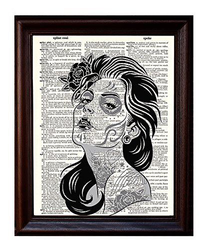 Dictionary Art Print - Day of the Dead Sugar Skull Girl Large - Printed on Recycled Vintage Dictionary Paper - 8