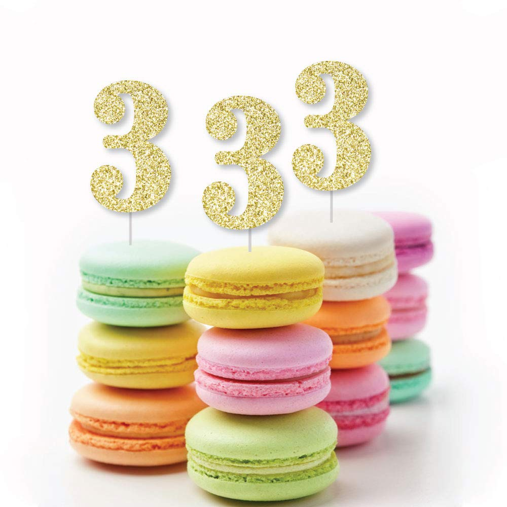 3rd Birthday Party Confetti Set of 24 No-Mess Real Gold Glitter Cut-Out Numbers Gold Glitter 3