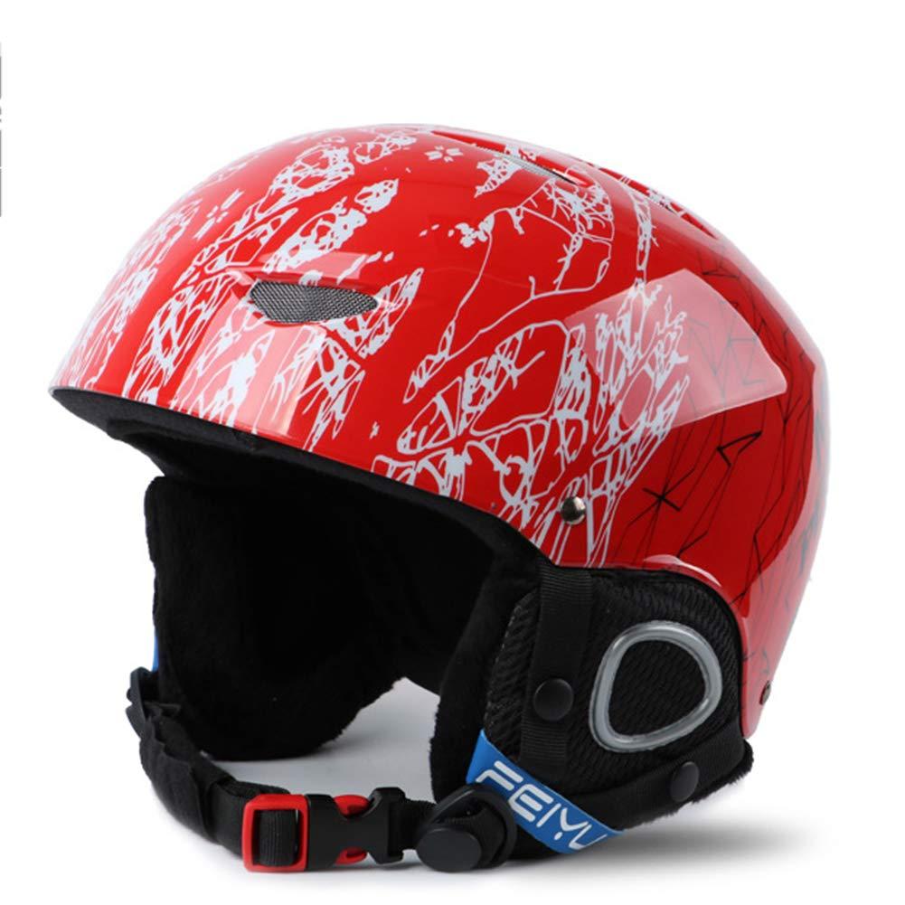 TOOSD Skihelm, Einstellbare Furnier Doppel Snowboard Helm Wettbewerb Version Winter Männer Und Frauen Erwachsene Kinder Helm Schutzausrüstung,B,M