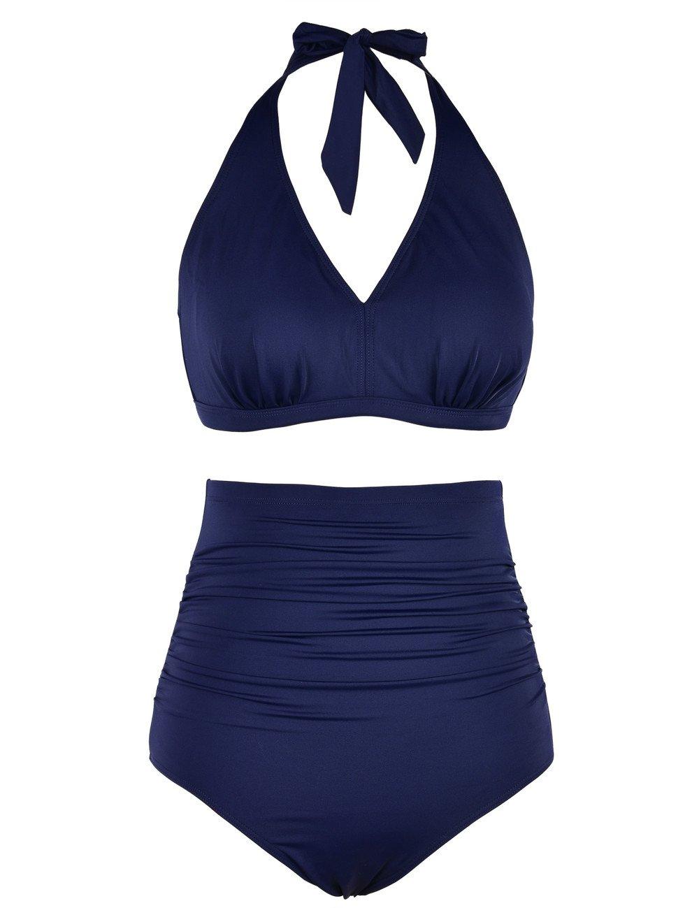 Hilor Women's High Waisted Bikini Bottom V Neck Bikini Top Tankini Set Two Piece Bikinis 14 Navy