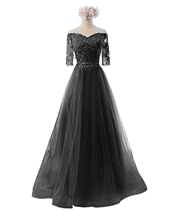 Womens Prom Dresses Long Applique Tulle Homecoming Bridesmaid Dress Gown AiniDress Black Size 2