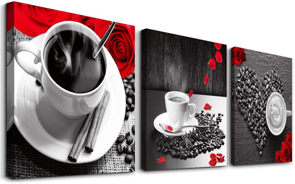 3 piece Framed Canvas Wall Art for kitchen family dining room Wall decor modern restaurant Wall painting Bedroom wall Decoration Rose coffee Canvas pictures inspiration posters Artwork for home walls