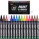 Paint Pens, Lelix 15 Pack Oil Based Permanent Paint Markers for Rock Painting, Wood, Metal, Ceramic, Glass and Almost All Surfaces, Medium Tip with Quick Dry, Water Resistant Ink: more info