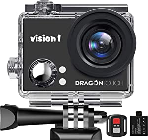 "Dragon Touch 1080P Action Camera 12MP Underwater Waterproof Camcorder with 2"" LCD Screen Remote Control and Mounting Accessories Kits Vision 1"