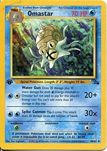 (Pokemon Fossil 1st Edition Uncommon Card #40 Omastar)