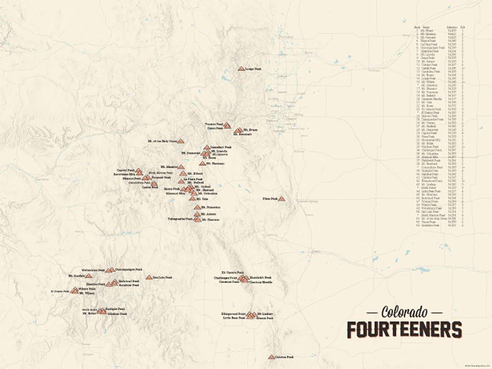 58 Colorado 14ers Map 18x24 Poster (Tan)