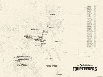 Amazon 58 Colorado 14ers Map 18x24 Poster Tan Posters & Prints