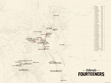 Map Of 14Ers In Colorado Amazon.com: 58 Colorado 14ers Map 18x24 Poster (Tan): Posters & Prints