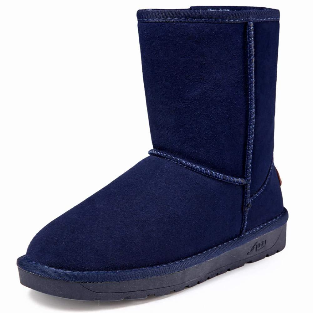Oudan Winter Frauen Faux Shearling Mikrofaser Schneestiefel Schneestiefel Schneestiefel Short Fashion Stiefel (Farbe   Blau 2, Größe   39) 591e1e