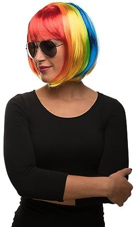 Balinco Unicornio Bob Cabaret Charleston Peluca en Colores del Arco Iris Multicolor para Hombre & Mujer