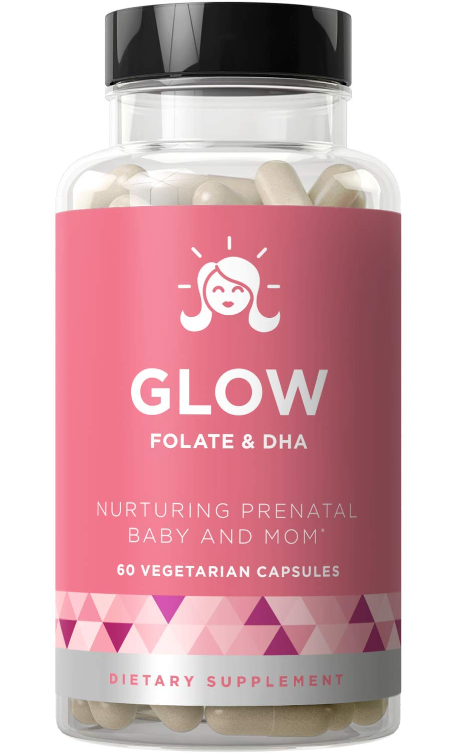 Glow Prenatal Vitamins Folate DHA Nurturing Pregnancy Multivitamin for Healthy Baby and Mom Folic Acid, Ginger, Zinc, Iron 60 Mini Vegetarian Soft Capsules