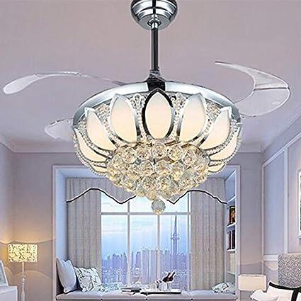Luxury Modern Crystal Chandelier Ceiling Fan Lamp Folding