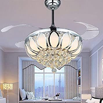 Luxury Modern Crystal Chandelier Ceiling Fan Lamp Folding Ceiling Fans With Lights Chrome Ceiling Fan With Light Dining Room Decorative With Remote Control Support Dimming Amazon Com