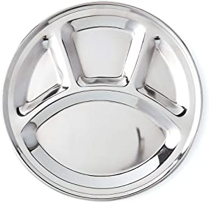 Khandekar Stainless Steel Round Divided Dinner Plates, Compartment Dinner Plate with 4 Sections for Kids, Mess Tray, Food Plate, Toddler Plates - Silver, 11 inch (28 cm)