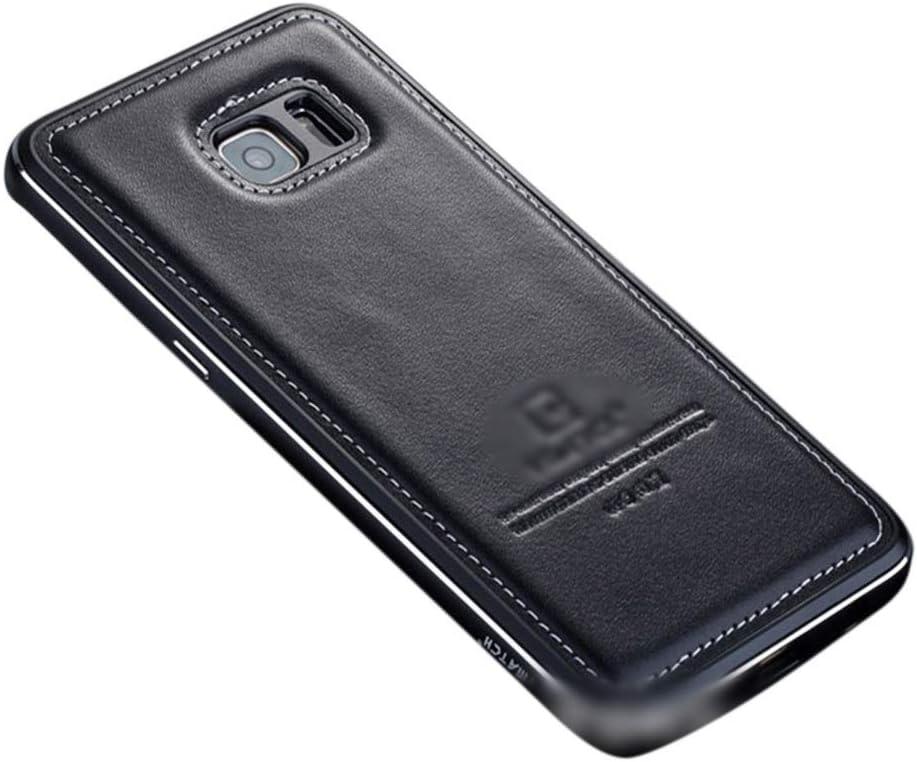 Abiliyy サムスンS6エッジ、s7、s8 +の金属レザーケース 飛散耐性携帯電話ケース (Color : 黒, Size : For Samsung galaxy s7)