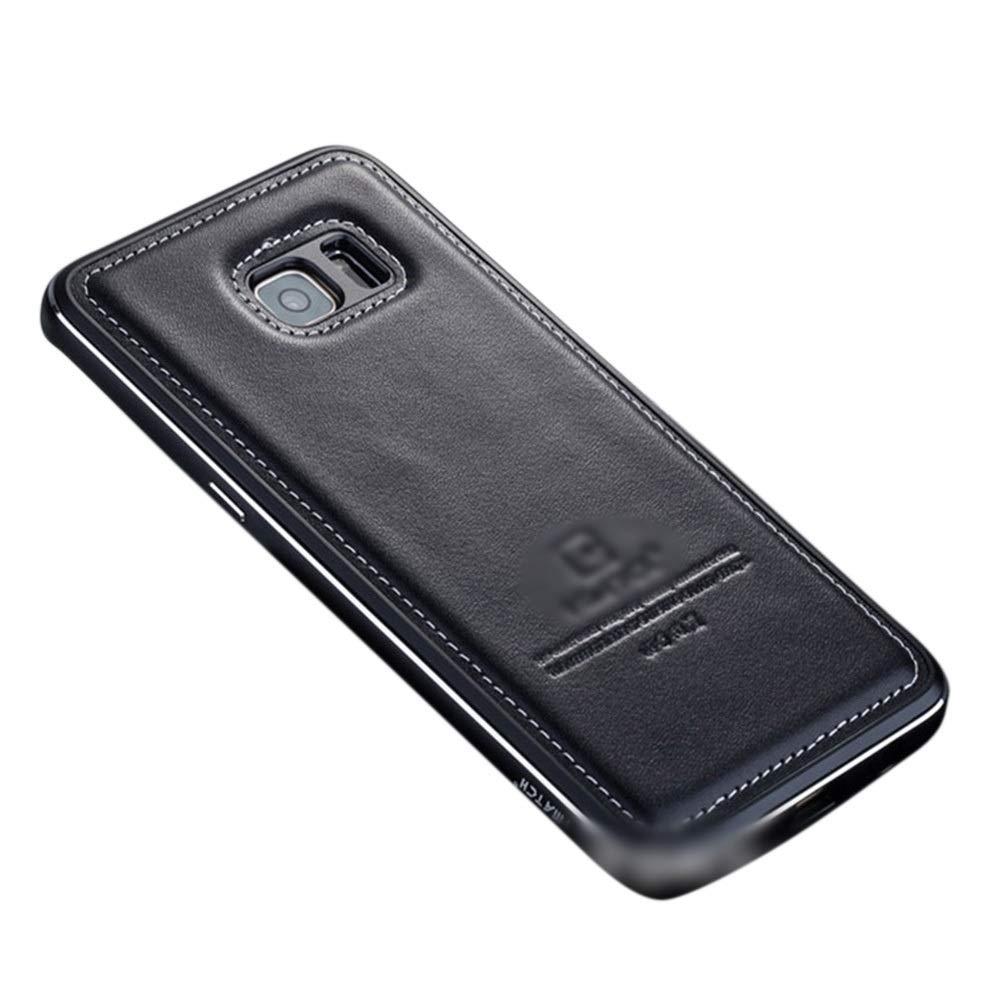 Abiliyy サムスンS6エッジ、s7、s8 +の金属レザーケース 飛散耐性携帯電話ケース (Color : 黒, Size : For Samsung galaxy s6 edge)