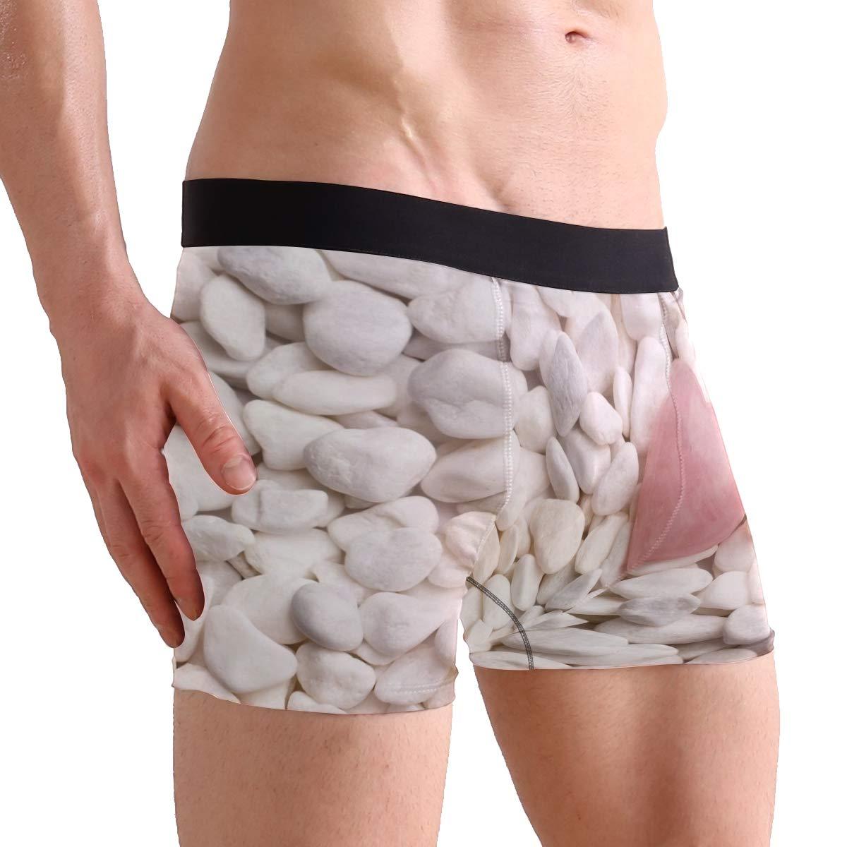 SUABO Mens 2-Pack Boxer Briefs Polyester Underwear Trunk Underwear with Rose Quartz Heart Design