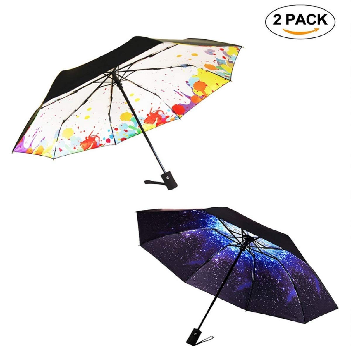 Marriarics Compact Travel Umbrella Windproof, A Set of Starry Sky and Graffiti, Nice Package for Gift.