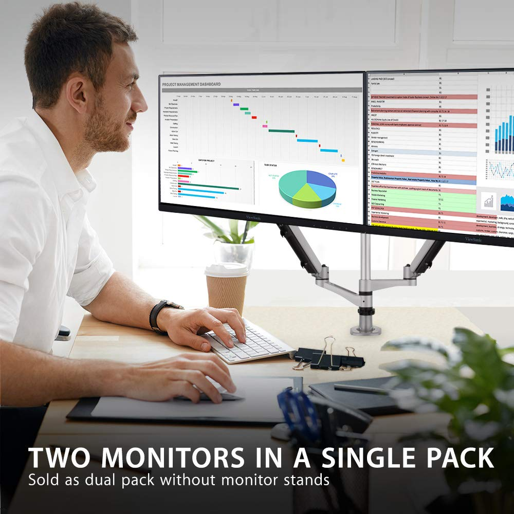 ViewSonic VA2456-MHD/_H2 Frameless Dual Pack Head-Only 1080p IPS Monitors with HDMI DisplayPort and VGA for Home and Office