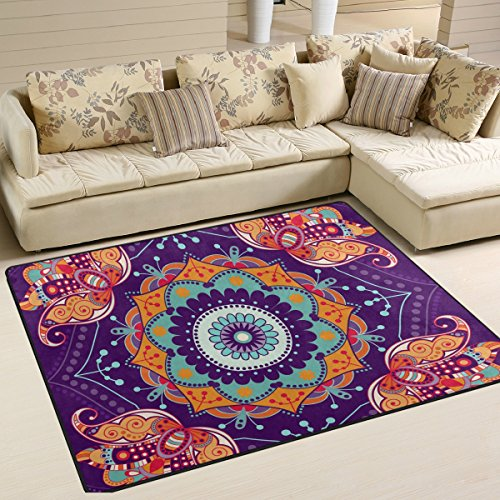 Bohemian Floral Hippie Print Playmat Floor Mat For Dining Room Living Room Bedroom, 7'x5' and - Versace Medallion Gold