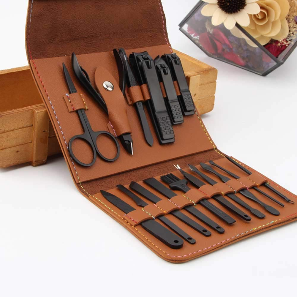 AIWOGEP 16 Pieces Manicure Set with PU Leather Case, Personal Care Tool, Gifts for Men/Women, Anniversary, Christmas, Birthday, Married Couples Anniversary, Stocking Stuffers by AIWOGEP