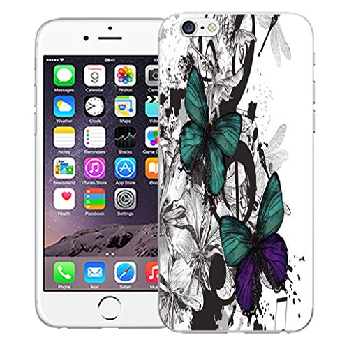 """Mobile Case Mate iPhone 6 4.7"""" Silicone Coque couverture case cover Pare-chocs + STYLET - Delicate Butterflies pattern (SILICON)"""
