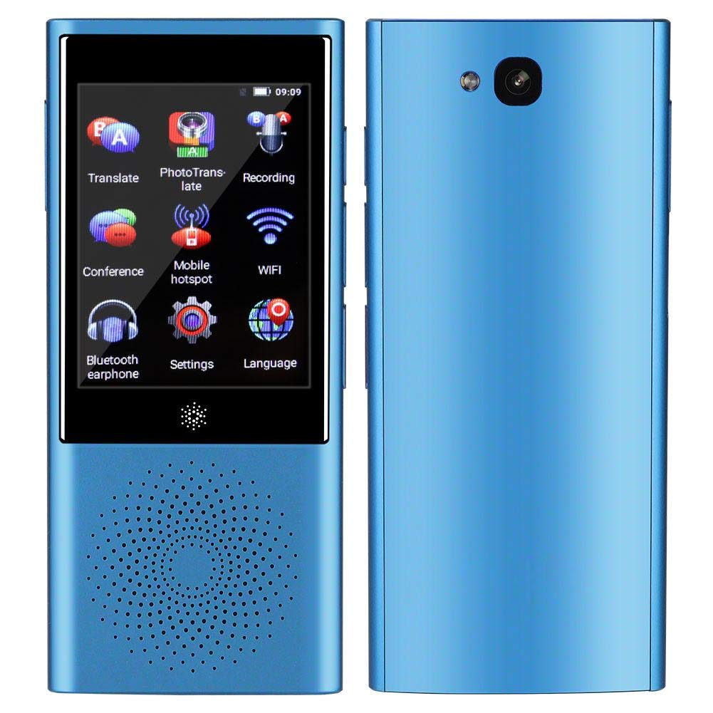 Portable AI Smart Translator Device 45 Languages Translation with Toch Screen Support Offline/Recording/Photo Translation for Travelling Learning Shopping Business Chat(Blue)