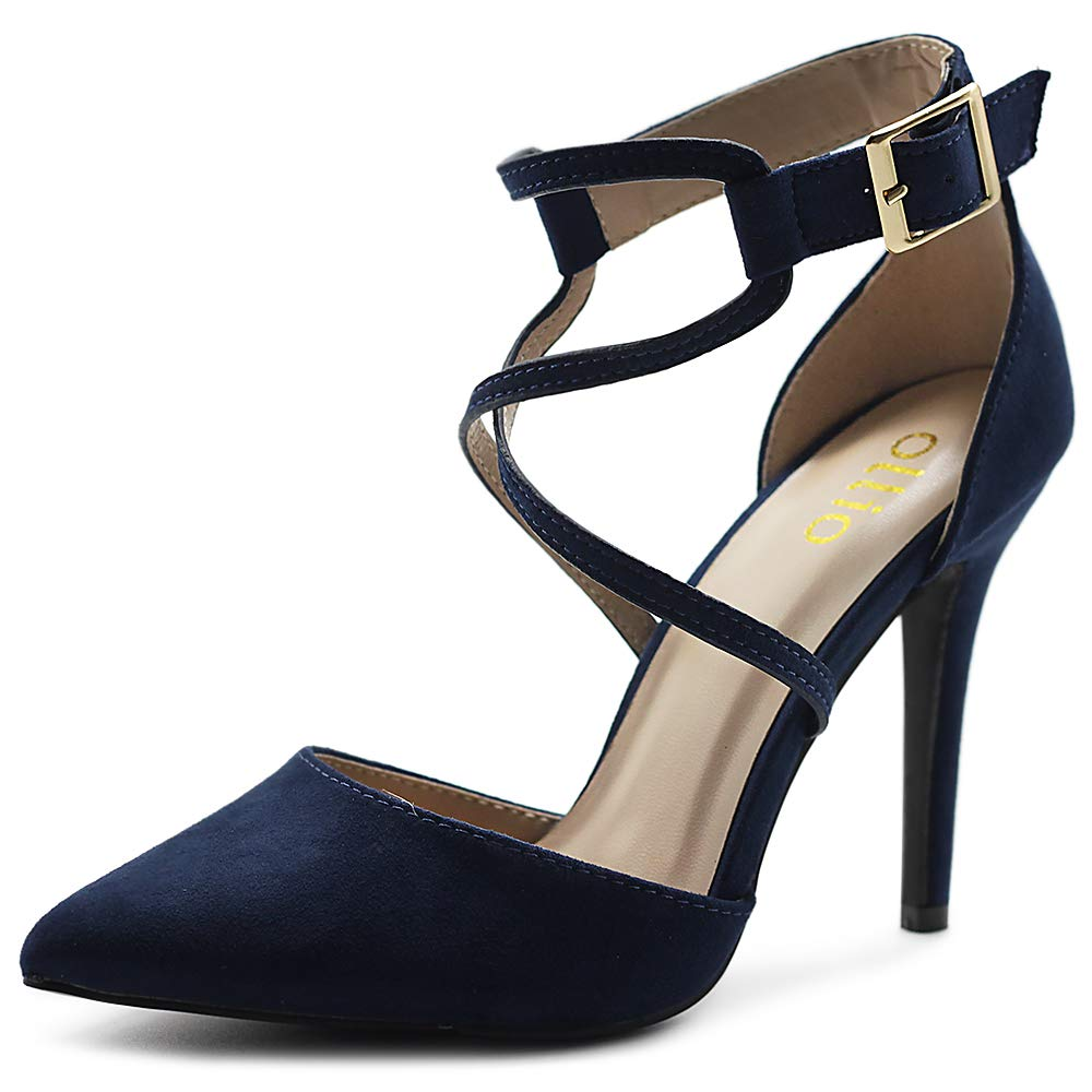 Navy Ollio Women's shoes Faux Suede Ankel Buckle Cross Straps Pointed Toe High Heels Pumps H96