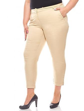 Sheego luftige Hose 7 8 Leinen-Hose Sommerhose Damen Große Größen Beige   Amazon.de  Bekleidung cf5b03357f