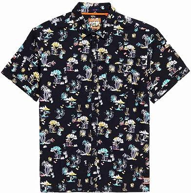 Superdry Camisa Hombre Seattle Skate Palmeras Negro: Amazon.es: Zapatos y complementos