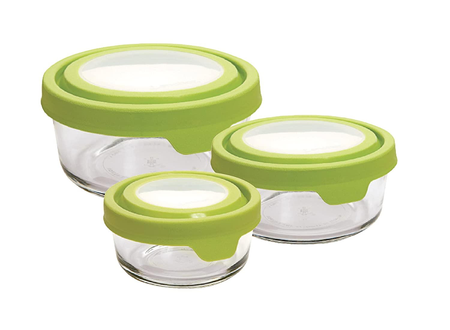 Anchor Hocking TrueSeal Glass Food Storage Containers with Airtight Lids, Green, 6-Piece Round Set