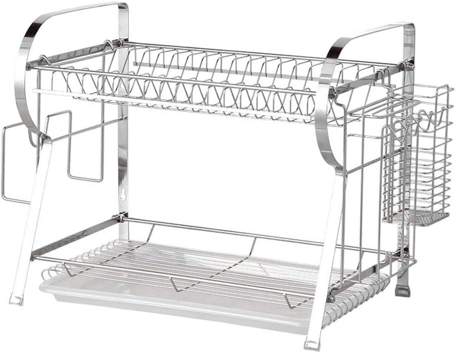 キッチン収納 ディッシュラックドレインハンギングキッチンシェルフ2層ステンレス鋼は、ステンレス鋼の食器棚ラック キッチン用品 (Color : Silver, Size : 55x28x35cm)