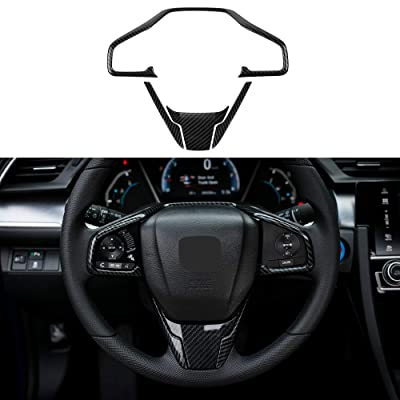 Thenice for 10th Gen Civic ABS Carbon Fiber Style Steering Wheel Trims Interior Decaration Sticker for Honda Civic 2020 2020 2020 2020 2016: Automotive