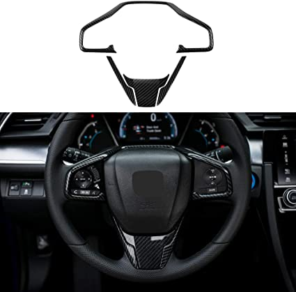 For Honda Civic 2016-2017 ABS Carbon Fiber Style Steering Wheel Cover Car Trim