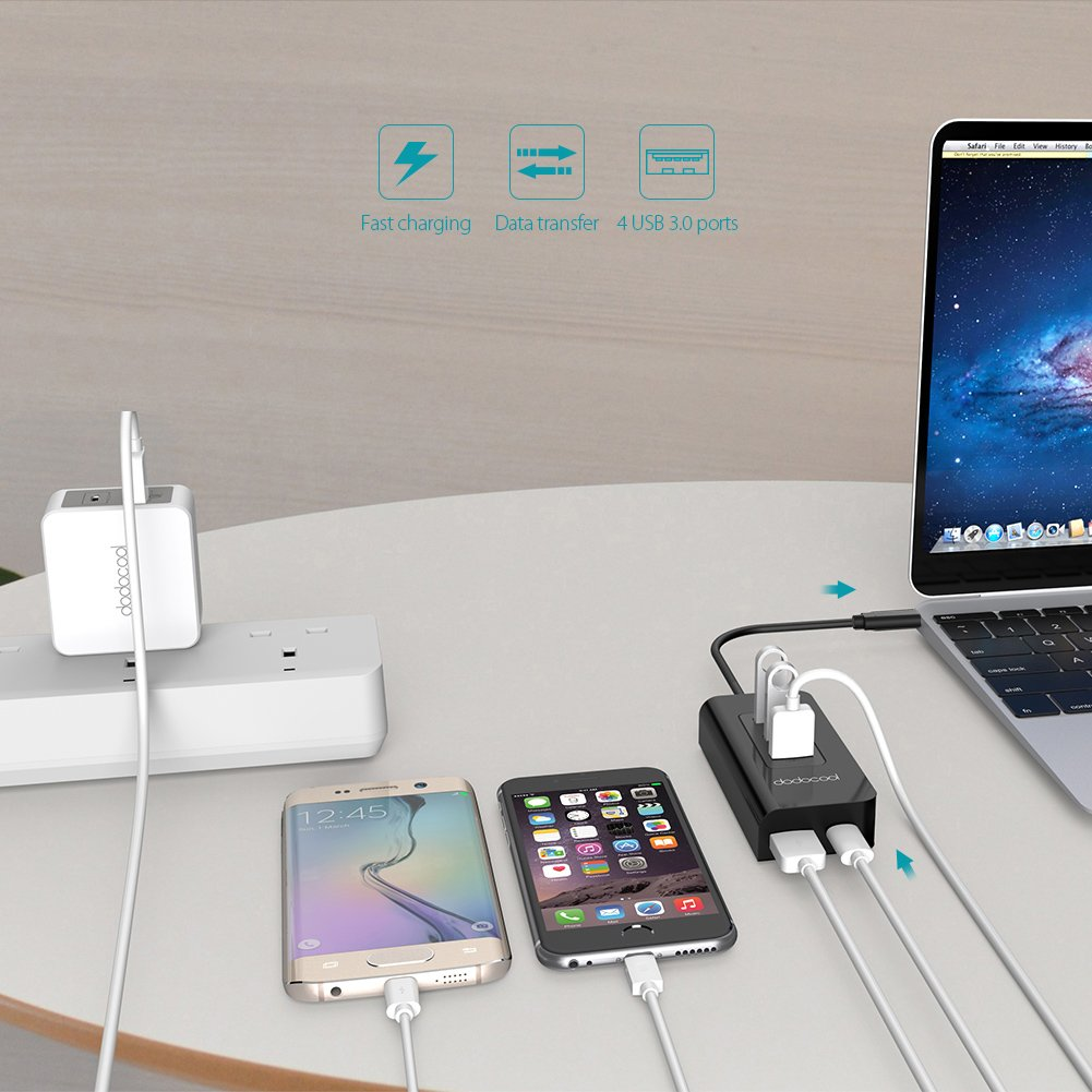 dodocool USB C Hub with 4 USB 3.0 Ports and Type C Port SuperSpeed Power Delivery for Apple New MacBook/Google ChromeBook Pixel by dodocool (Image #5)