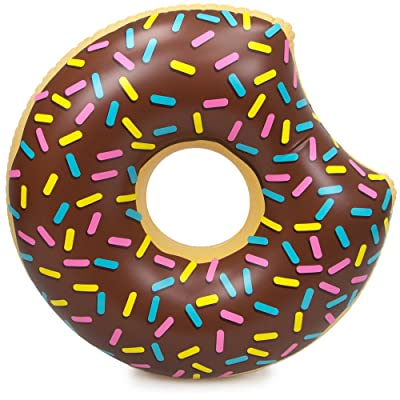 "Sol Coastal 38"" Donut Swimming Pool Float, Chocolate Frosted with Rainbow Sprinkles Inflatable Water Raft: Toys & Games"