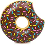 """38"""" Donut Swimming Pool Float, Chocolate Frosted with Rainbow Sprinkles Inflatable Water Raft by Sol Coastal"""