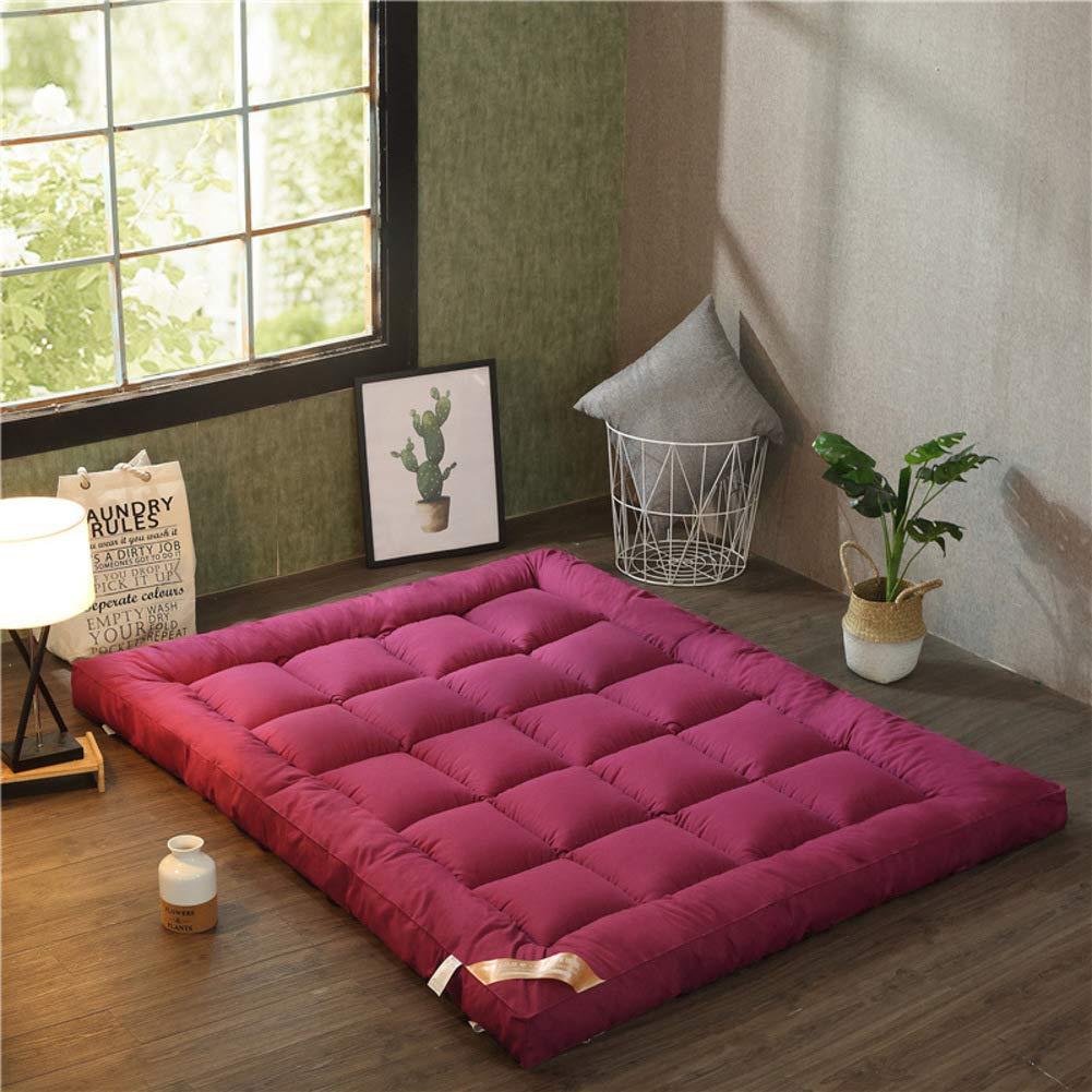 Love Home Tatami Matratzen-Auflage, verdickter Federsamt, japanische einfarbig, atmungsaktiv, Studenten-Schlafmatratze Schlafmatte, Schaumstoff, rot, 200x220cm(79x87inch)