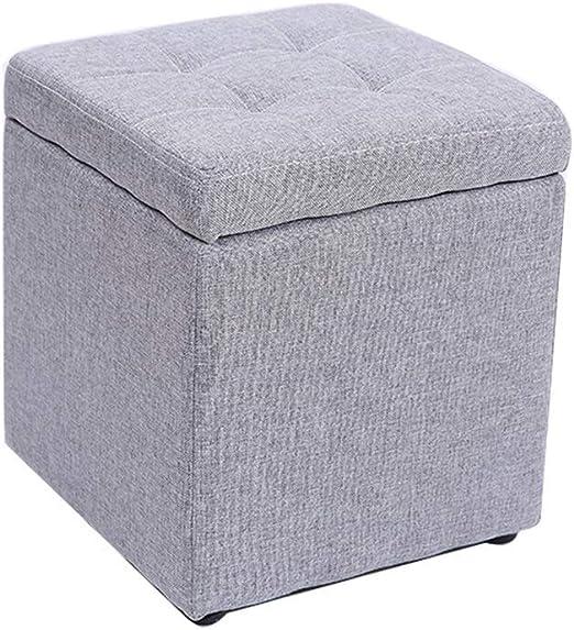 QQXX Taburete de Almacenamiento Cuadrado Taburete bajo Puf otomano Reposapiés Cambio tapizado Textil de Lino Caja de Juguetes Sala de estar100 kg Capacidad de Carga de Peso (303035cm) Multicolor: Amazon.es: Hogar