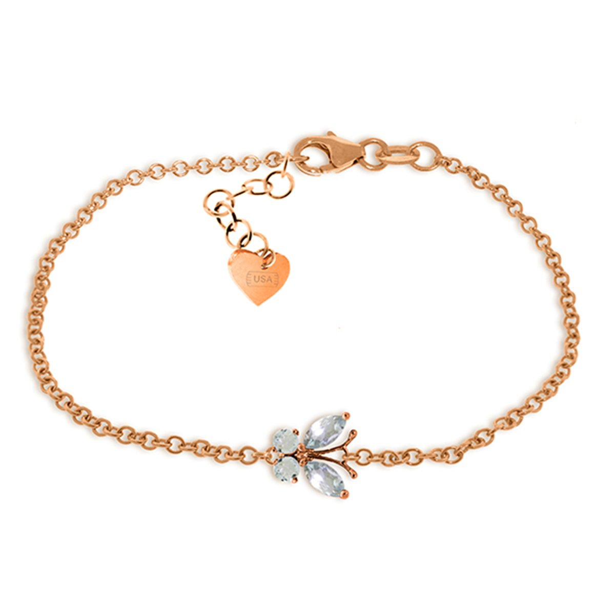 14k Rose Gold Aquamarine Butterfly Bracelet